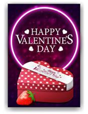 Bilder Vektorgrafik Valentinstag Erdbeeren Englisch Wort Geschenke Herz