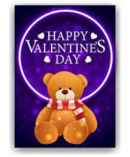 Bilder Vektorgrafik Valentinstag Teddy Englischer Text Schal