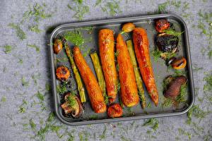 Photo Vegetables Mushrooms Carrots Dill Asparagus