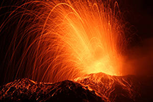 Hintergrundbilder Vulkane Lava Nacht