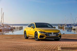 Hintergrundbilder Volkswagen Gelb Metallisch Arteon, R-Line, Worldwide auto