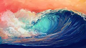 Hintergrundbilder Wasserwelle Meer Gezeichnet Natur