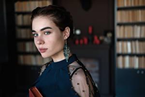 Hintergrundbilder Bokeh Starren Gesicht Braunhaarige Ohrring Anastasia, Kirill Sokolov Mädchens