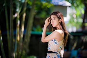 Fotos Asiaten Unscharfer Hintergrund Hand Braune Haare Niedlich junge frau