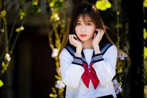 Bilder Asiatische Bokeh Hand Starren Braunhaarige Schülerin Uniform