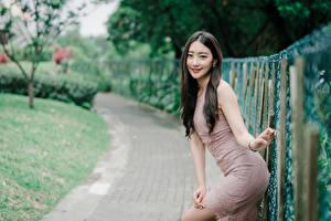Hintergrundbilder Asiaten Unscharfer Hintergrund Posiert Hand Brünette Starren Zaun junge frau