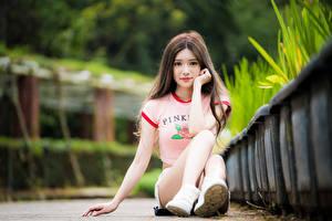 Fotos Asiaten Unscharfer Hintergrund Sitzt Haar Niedlich Starren Bein junge frau
