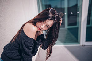 Pictures Asiatic Eyeglasses Hair Brunette girl Staring young woman