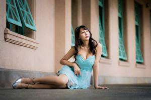 Bilder Asiaten Sitzt Bein Kleid Dekolletee junge frau