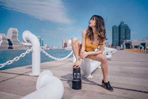Fotos Asiaten Waterfront Posiert Sitzt Shorts Unterhemd Braune Haare Bein junge frau