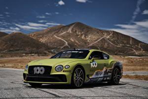 Desktop hintergrundbilder Bentley Tuning Gelb grüne 2019 Continental GT Pikes Peak automobil