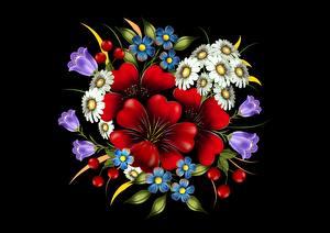 Fotos Blumensträuße Gezeichnet Schwarzer Hintergrund Blüte