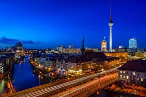 Fotos Brücke Straße Deutschland Berlin Gebäude Fluss Nacht Türme Städte