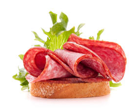 Photo Butterbrot Bread Sausage White background Food