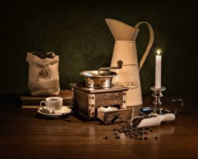 Wallpapers Coffee Candles Coffee mill Table Grain Cup Pitcher