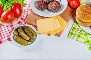 Wallpaper Cheese Rissole Tomatoes Cucumbers Buns Hamburger