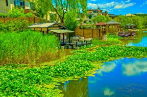 Bilder China Parks Bootssteg Seerosen Fluss HDRI Beijing Zen Garden