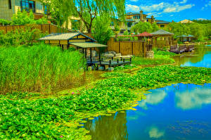 Wallpaper China Park Berth Nymphaea River HDRI Beijing Zen Garden Nature