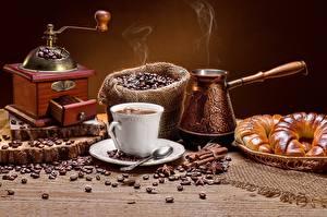 Bilder Kaffee Kaffeemühle Getreide Tasse Dampf Cezve