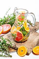 Fotos Getränke Orange Frucht Grapefruit Limonade Kannen Schneidebrett Lebensmittel