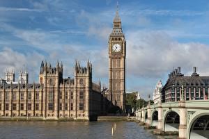 Bakgrunnsbilder England Elver Elv Broer Klokke London Tårn Big Ben Thames byen