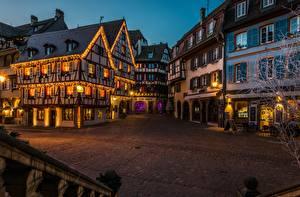 Desktop hintergrundbilder Abend Haus Frankreich Straßenlaterne Stadtstraße Städte