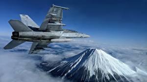 Hintergrundbilder Flugzeuge Jagdflugzeug Gebirge Flug Super Hornet, F/A-18F, U.S. 7th Fleet