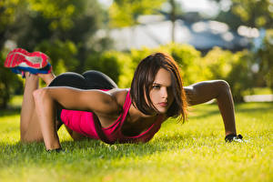 Image Fitness Grass Push-up Hands Brown haired Glance young woman