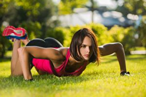 Fotos Fitness Gras Liegestütz Hand Braune Haare Blick junge frau