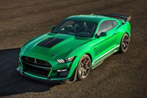 Fotos Ford Grün Metallisch Mustang automobil