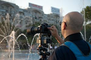 Pictures Fountains Man Photographer Camera Bald