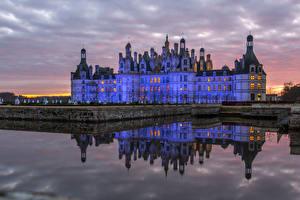 Hintergrundbilder Frankreich Burg Abend Kanal Chambord