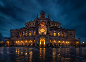 Image Germany Dresden Houses Evening Design Street lights Semperoper Cities