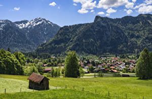 Pictures Germany Mountain Building Bavaria Trees Oberammergau Cities