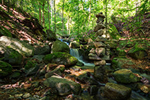 Image Germany Park Stone Moss Streams Stecklenberg Nature