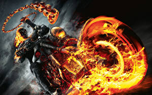 Image Ghost Rider Flame Skeleton Chain Motorcyclist Wheels film Fantasy