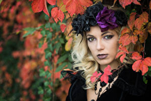 Fotos Gotische Blatt Gesicht Schminke Kranz Blondine Starren Deborah junge frau
