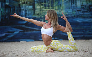 Photo Gymnastics Fitness Yoga Posing young woman