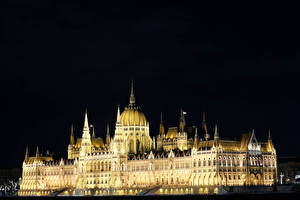 Images Hungary Budapest Building Design Night time Hungarian Parliament