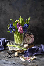 Photo Hyacinths Still-life Alarm clock Wood planks French macarons