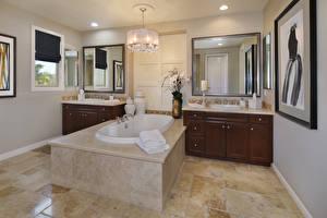 Fotos Innenarchitektur Design Badezimmer Kronleuchter Spiegel