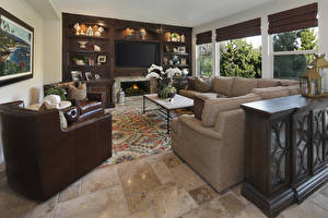 Picture Interior Design Living room Armchair Couch Fireplace