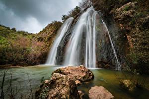 Fotos Israel Wasserfall Steine Felsen Northern