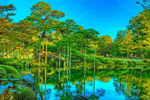 Fotos Japan Park Teich HDRI Bäume Spiegelung Spiegelbild Kanazawa Kenrokuen Garden