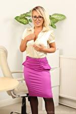 Image Kaitlin Grey Secretaries Blonde girl Glance Smile Glasses Hands Skirt female