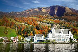 Wallpaper Lake Switzerland Autumn Mountain Hotel Park Hotel Vitznau, Lake Lucerne Cities