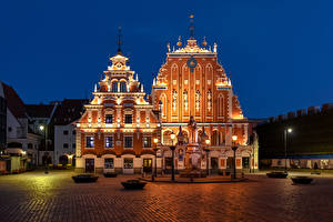 Photo Latvia Building Monuments Town square Night time Street lights Riga