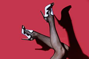 Picture Legs Stilettos Pantyhose Shadow Red background Girls