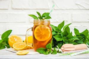 Hintergrundbilder Zitronen Getränk Limonade Minzen Einweckglas