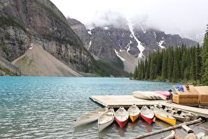 Fotos Bootssteg Boot See Berg Parks Kanada Moraine Lake, Alberta Natur